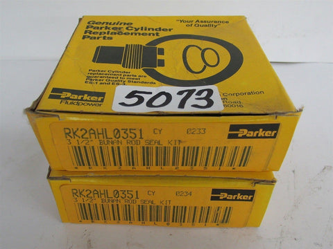 "2 Genuine Parker Cylinder Service Kit # Rk2Ahl0351 - 3 1/2"" Bunan Rod Seal Kit"