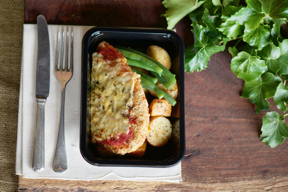 Crumbed Chicken Parmigiana with Roast Vegatables and Beans 280g - 380g
