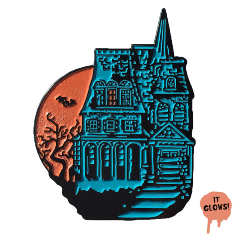 Haunted House - Glowing Enamel Pin - Horror