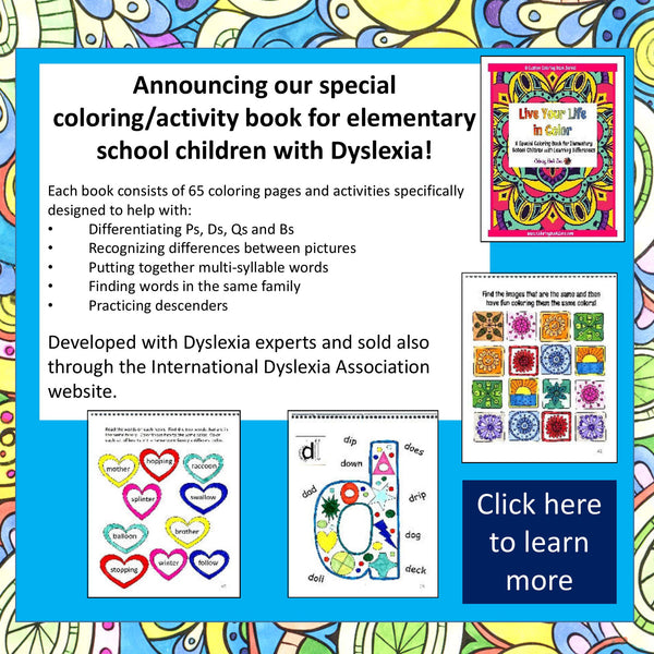 Know someone with Dyslexia? New Coloring Book Therapy Available!