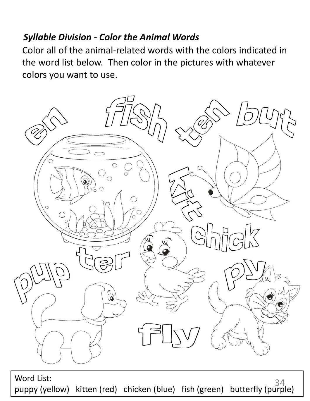 Coloring/Activity Book for Elementary Students with Dyslexia - Pack ...