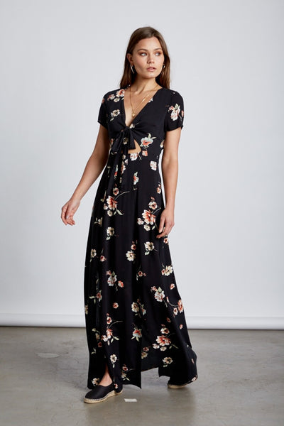 Indigo Tie Front Maxi Dress