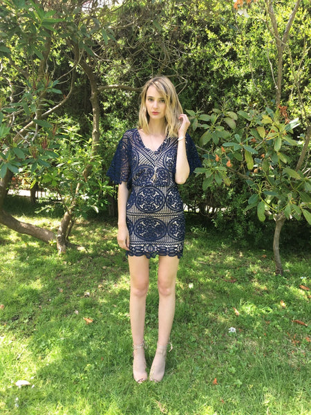 Rowan Navy Lace Dress