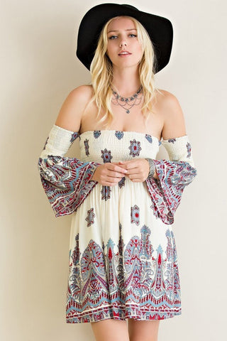 bohemian off the shoulder dress