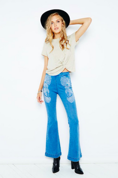 bohemian flare jeans