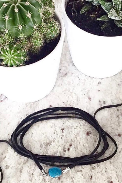 black leather choker necklace