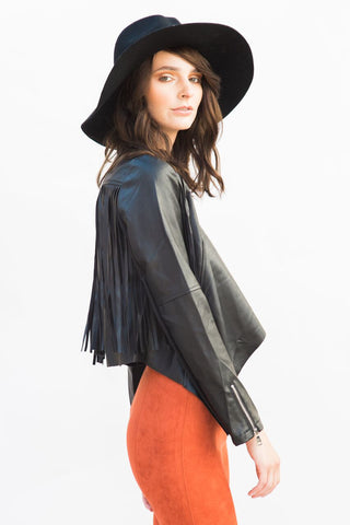 vegan leather fringe jacket