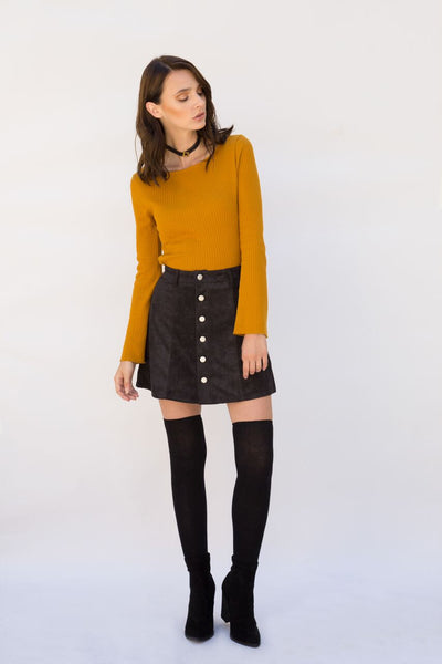 Natalia Black Vegan Suede Skirt