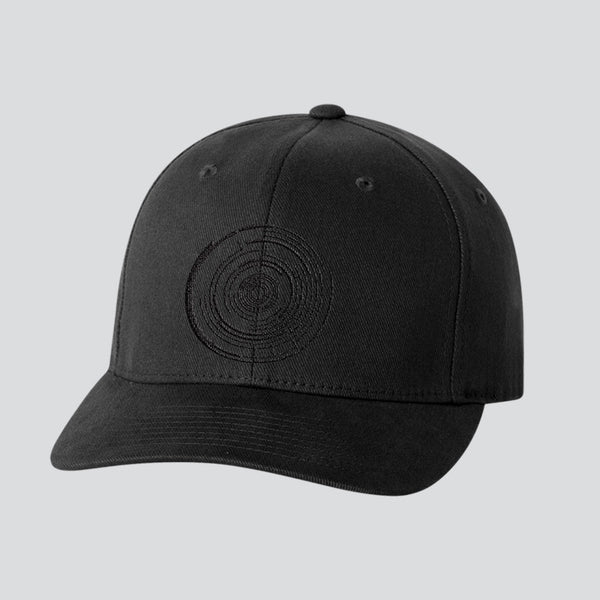 EMBROIDERED TEXT LOGO BLACK BASEBALL CAP