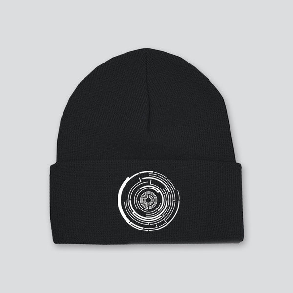 EMBROIDERED LOGO BLACK BEANIE