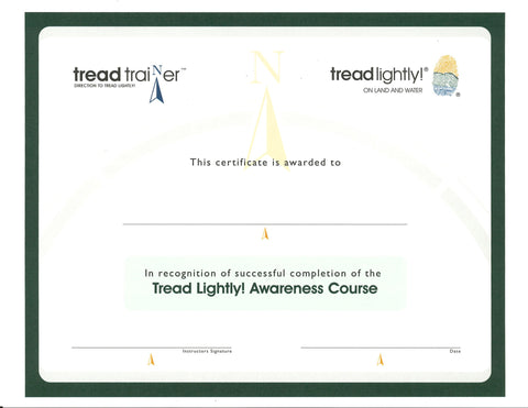 Tread Trainer Awareness Course Certificate - 25 pk