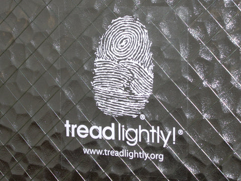 "Tread Lightly! White Window Decal (4""×5"")"