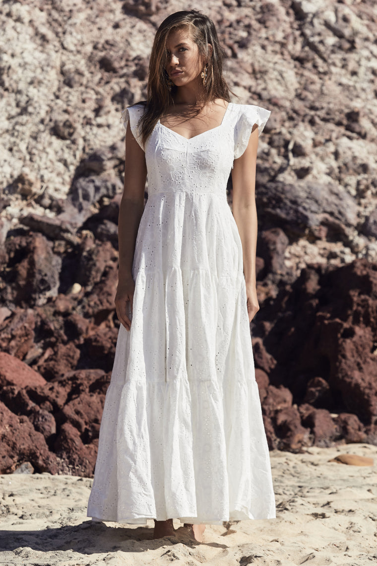 Nora Dress - White Embroidered
