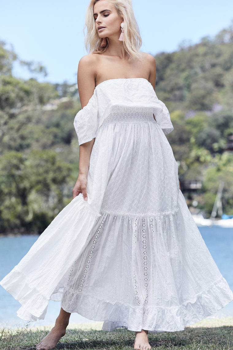 Jennifer Maxi - White Embroidered