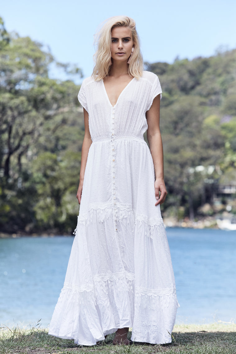 Eclipse Maxi - White Embroidered