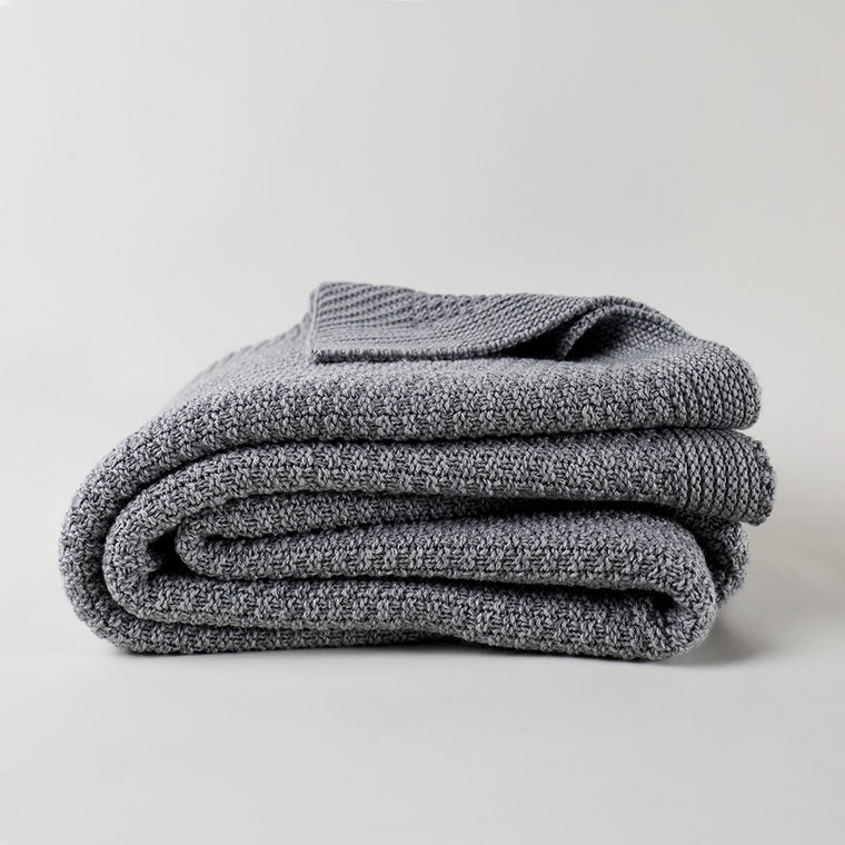 Tuba Cotton Knit Blanket in Pale Grey