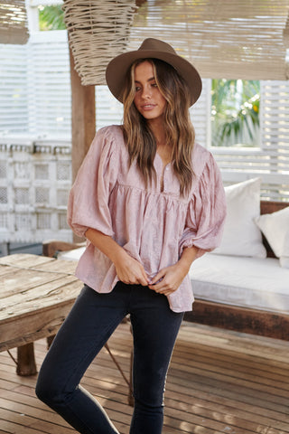 Parisian Top - Dusty Pink Embroidered