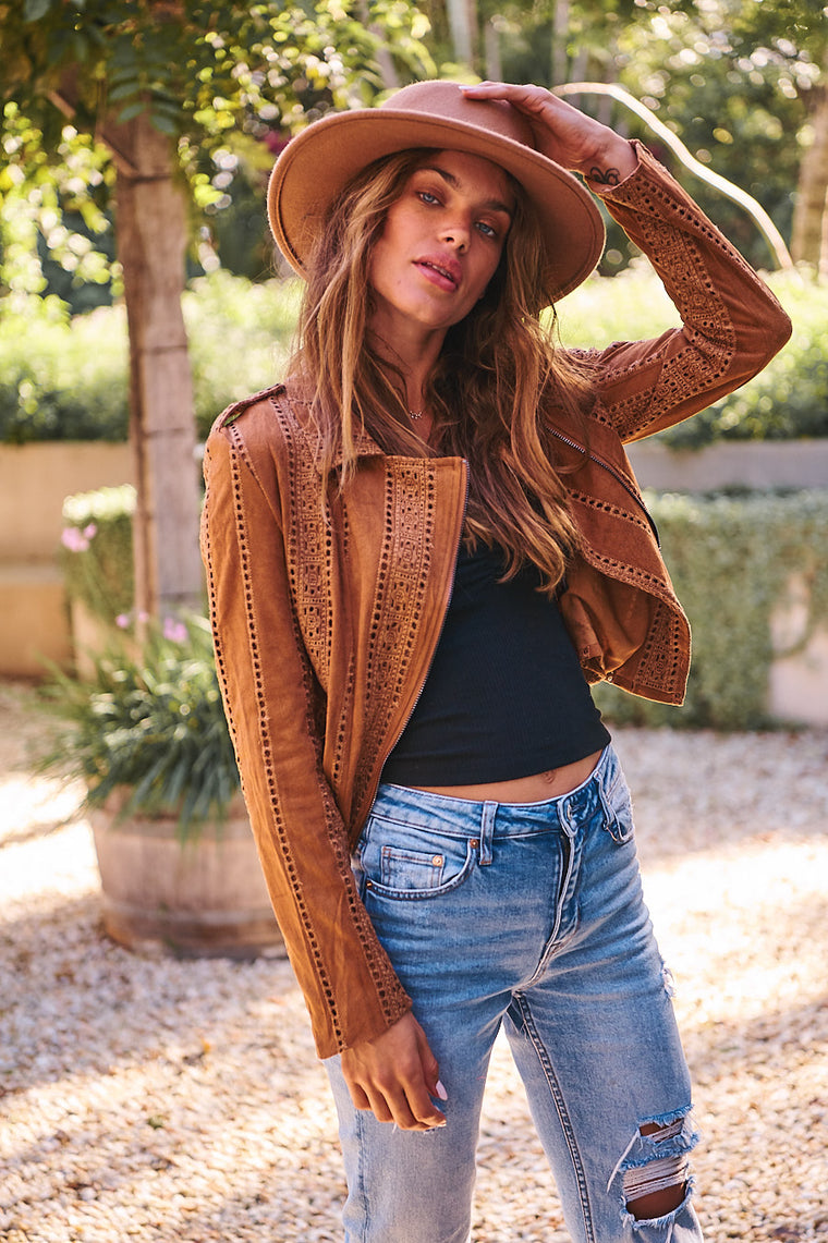 Jodi Jacket - Tan Faux Suede