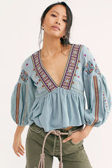 Aria Embroidered Top - Lagoon Combo