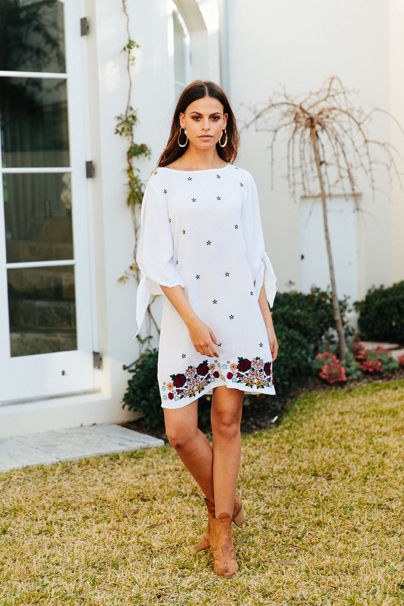 Starry Night dress - Clementine white Embroidered