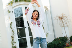 Avoca Top - Clementine White Embroidered