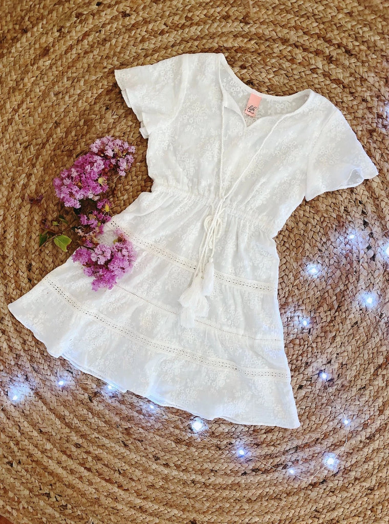 Paris Dress - White Embroidered