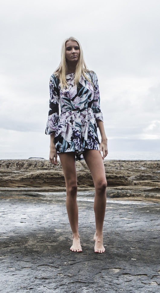 Tia Playsuit - Midnight Orchid