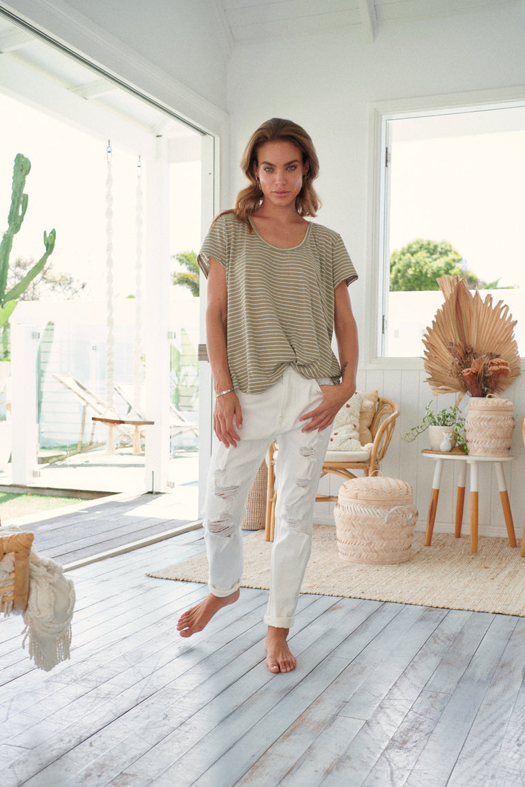 Oolong Tee - Khaki & White Stripe