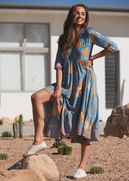 Shorelines Midi Dress - Kiara Print