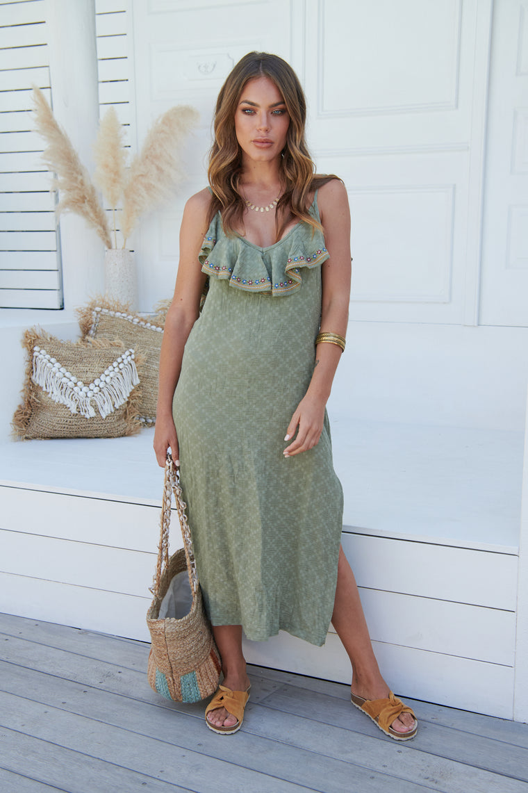 Inka Embroidered Tyra Dress- Khaki