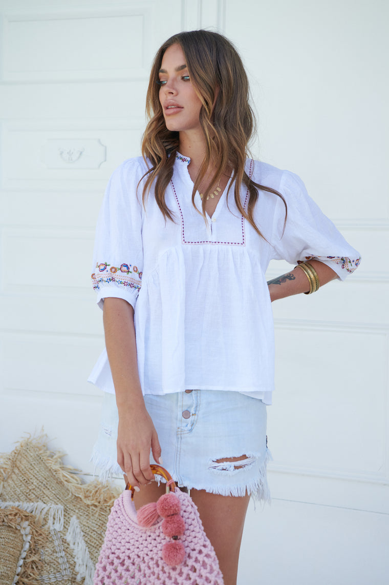 Inka Embroidered Alta Top - White