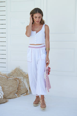 Inka Embroidered Ada Pants - White