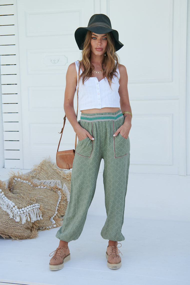 Inka Embroidered Ada Pants - Khaki