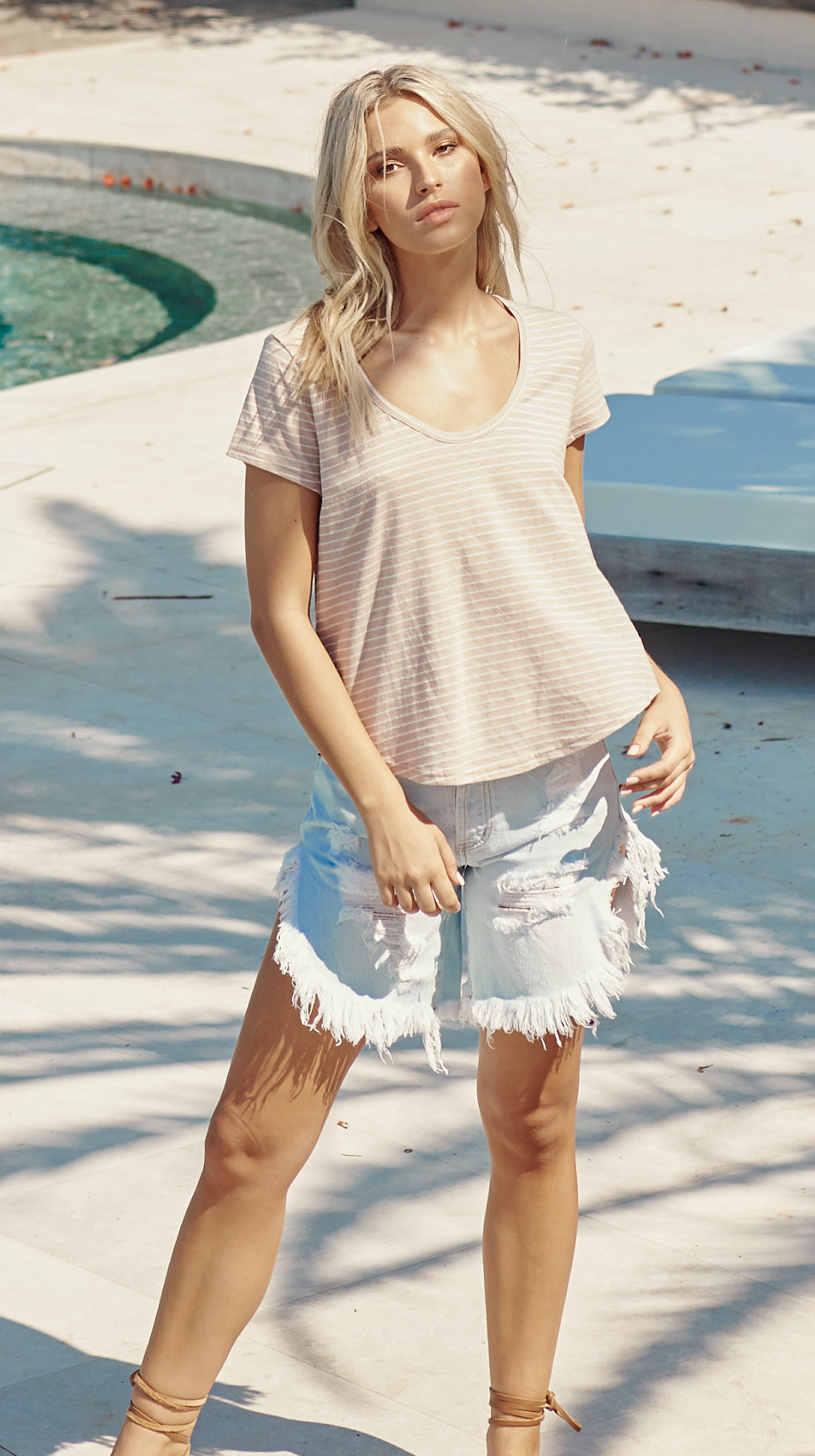 Oolong Tee - Blush & White Stripe