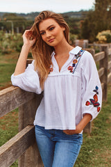 Leba Top - Acantho White Embroidered