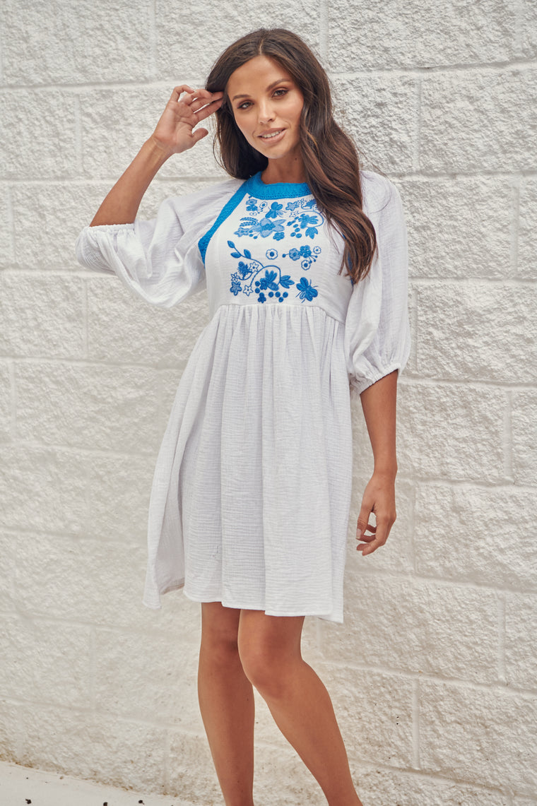 Embroidered Davila Dress - Kaya