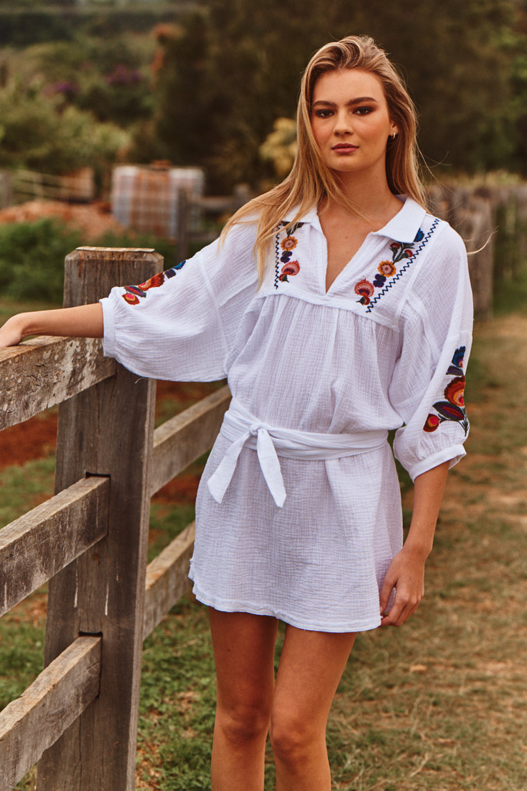 Madine Mini Dress - Acantho White Embroidered