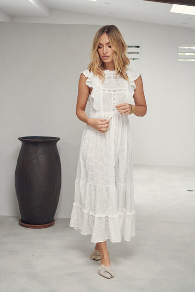 Maca Maxi Dress - Leora White Embroidered