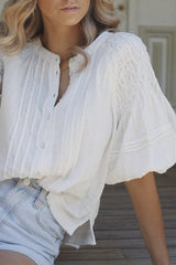 Secret Falls Smocked Top - Ivory