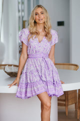 Daya Short Sleeve Dress - Violet