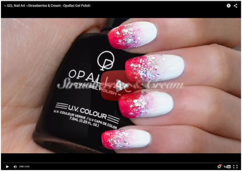 Opallac Strawberries and Cream Nail Art