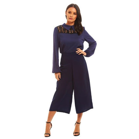 Women's Solid Culotte Pants Navy - Fashion Union