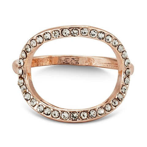 Women's Open Round Ring with Pave - Rose Gold