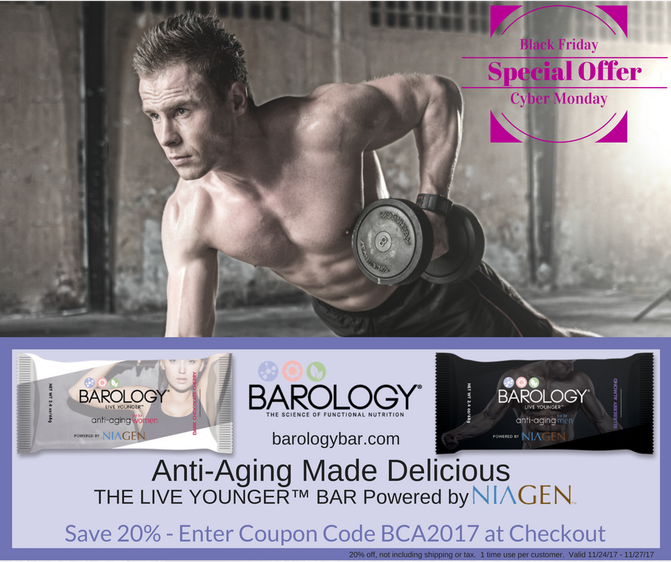 20% Black Friday | Cyber Monday Barology Anti-Aging NIAGEN Bars Discount Code BCA2017