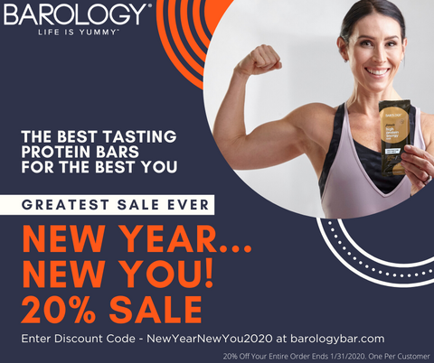 Fitness Instructor promoting Barology Protein Bar New Year Sale