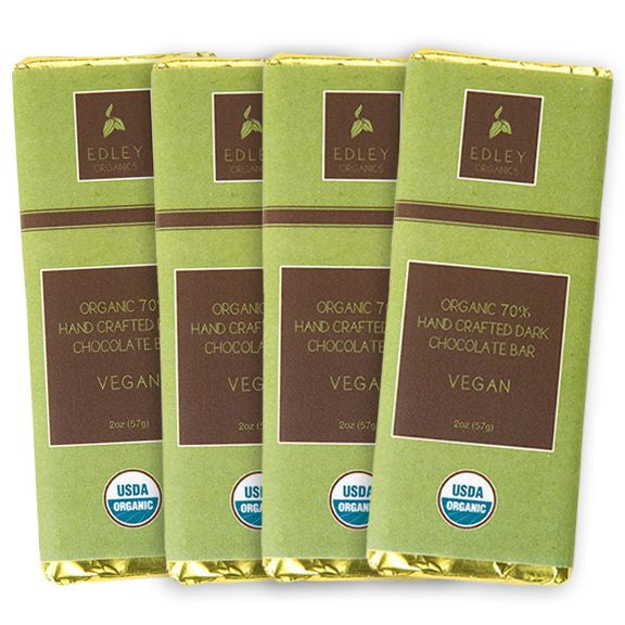 Edley Organics - Handcrafted Vegan 70% Dark Chocolate Bar - Set of 4