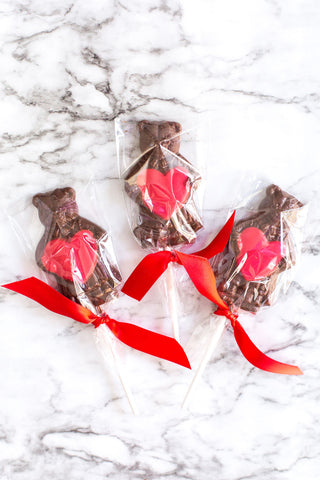 Valentine's Day Cuddle Bear Chocolate Lollipops