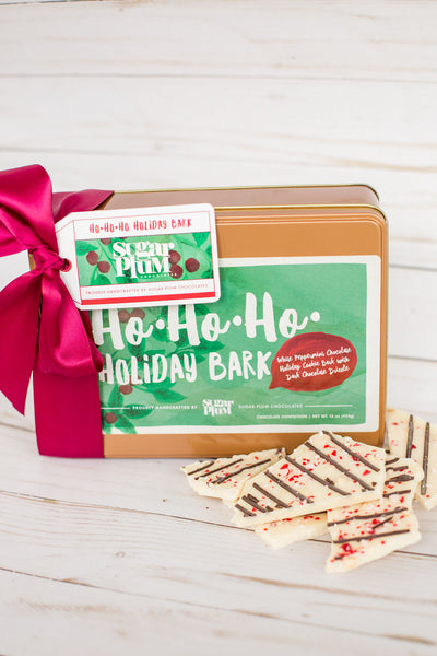 Ho-Ho-Holiday White Chocolate Peppermint Cookie Bark Gift Tin