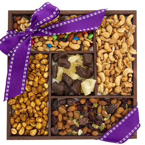 Five-Part Fruit, Nut, & Trail Mix Sampler - Sugar Plum Chocolates