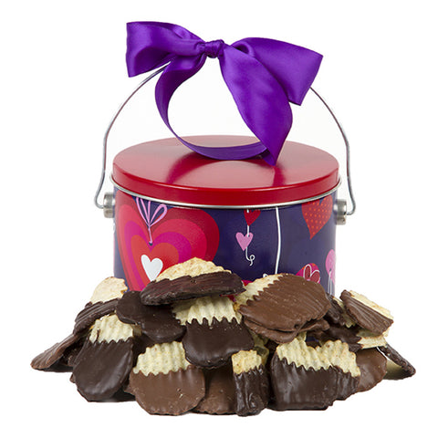 Cupid's Chocolate-Dipped Potato Chips Gift Tin